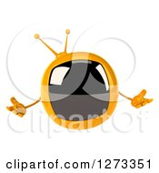 Clipart Of A 3d Retro Yellow TV Shrugging Royalty Free Illustration