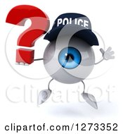 Clipart Of A 3d Blue Police Eyeball Character Jumping With A Question Mark Royalty Free Illustration