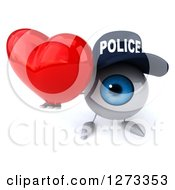 Clipart Of A 3d Blue Police Eyeball Character Holding Up A Heart Royalty Free Illustration