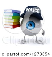 Clipart Of A 3d Blue Police Eyeball Character Holding A Stack Of Books Royalty Free Illustration