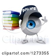 Clipart Of A 3d Blue Police Eyeball Character Holding Up A Finger And A Stack Of Books Royalty Free Illustration