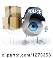 Clipart Of A 3d Blue Police Eyeball Character Holding A Thumb Down And Boxes Royalty Free Illustration