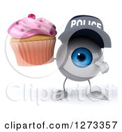 Clipart Of A 3d Blue Police Eyeball Character Holding And Pointing To A Pink Frosted Cupcake Royalty Free Illustration