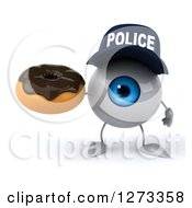 Clipart Of A 3d Blue Police Eyeball Character Holding A Chocolate Frosted Donut Royalty Free Illustration