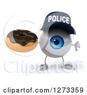Clipart Of A 3d Blue Police Eyeball Character Holding A Thumb Down And A Chocolate Frosted Donut Royalty Free Illustration