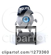 Clipart Of A 3d Blue Police Eyeball Character Running On A Treadmill Royalty Free Illustration