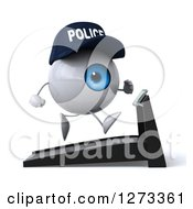 Clipart Of A 3d Blue Police Eyeball Character Facing Right And Running On A Treadmill Royalty Free Illustration