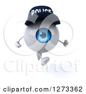 Clipart Of A 3d Blue Police Eyeball Character Sprinting Royalty Free Illustration