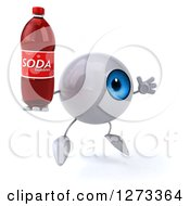 Clipart Of A 3d Blue Eyeball Character Facing Right Jumping And Holding A Soda Bottle Royalty Free Illustration