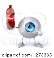 Clipart Of A 3d Blue Eyeball Character Holding And Pointing To A Soda Bottle Royalty Free Illustration