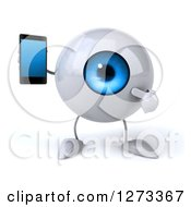 Clipart Of A 3d Blue Eyeball Character Holding And Pointing To A Smart Phone Royalty Free Illustration