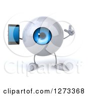 Clipart Of A 3d Blue Eyeball Character Holding Up A Finger And A Smart Phone Royalty Free Illustration
