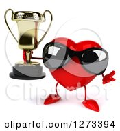 Clipart Of A 3d Heart Character Wearing Sunglasses Shrugging And Holding A Trophy Royalty Free Illustration