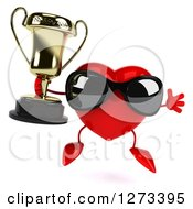 Clipart Of A 3d Heart Character Wearing Sunglasses Jumping And Holding A Trophy Royalty Free Illustration