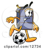 Clipart Picture Of A Suitcase Cartoon Character Kicking A Soccer Ball