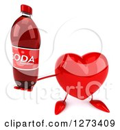Clipart Of A 3d Heart Character Holding Up A Soda Bottle Royalty Free Illustration