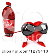 Clipart Of A 3d Heart Character Wearing Sunglasses And Holding Up A Soda Bottle Royalty Free Illustration