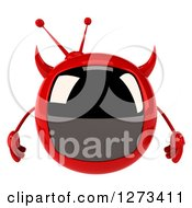 Clipart Of A 3d Evil Devil Tv Royalty Free Illustration