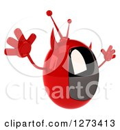 Clipart Of A 3d Evil Devil Tv Facing Right And Jumping Royalty Free Illustration by Julos