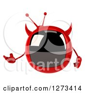 Clipart Of A 3d Evil Devil Tv Presenting Royalty Free Illustration by Julos