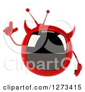 Clipart Of A 3d Evil Devil Tv Holding Up A Finger Royalty Free Illustration by Julos