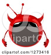 Clipart Of A 3d Evil Devil Tv Pouting Royalty Free Illustration by Julos