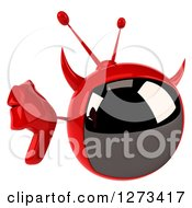 Clipart Of A 3d Evil Devil Tv Holding Up A Thumb Down Royalty Free Illustration by Julos