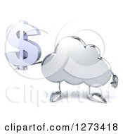 3d Silver Cloud Character Holding A Dollar Symbol