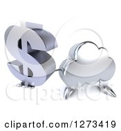 Clipart Of A 3d Silver Cloud Character Holding Up A Dollar Symbol Royalty Free Illustration