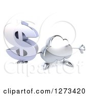 Clipart Of A 3d Silver Cloud Character Holding Up A Dollar Symbol And A Thumb Down Royalty Free Illustration