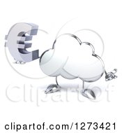 Clipart Of A 3d Silver Cloud Character Shrugging And Holding A Euro Symbol Royalty Free Illustration