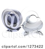 Clipart Of A 3d Silver Cloud Character Holding Up An Email Arobase Symbol Royalty Free Illustration
