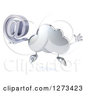 Clipart Of A 3d Silver Cloud Character Jumping With An Email Arobase Symbol Royalty Free Illustration