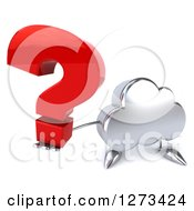 3d Silver Cloud Character Holding Up A Question Mark