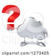 Clipart Of A 3d Silver Cloud Character Holding And Pointing At A Question Mark Royalty Free Illustration