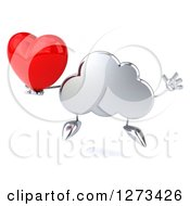 Clipart Of A 3d Silver Cloud Character Jumping And Holding A Heart Royalty Free Illustration