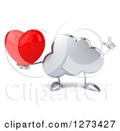 Clipart Of A 3d Silver Cloud Character Holding Up A Finger And A Heart Royalty Free Illustration