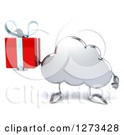 Clipart Of A 3d Silver Cloud Character Holding A Gift Royalty Free Illustration