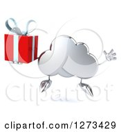 Clipart Of A 3d Silver Cloud Character Jumping With A Gift Royalty Free Illustration