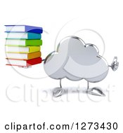 Clipart Of A 3d Silver Cloud Character Holding A Thumb Up And A Stack Of Books Royalty Free Illustration