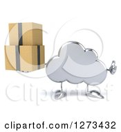Clipart Of A 3d Silver Cloud Character Holding A Thumb Up And Boxes Royalty Free Illustration
