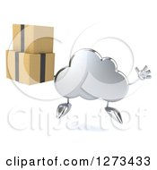 Clipart Of A 3d Silver Cloud Character Jumping And Holding Boxes Royalty Free Illustration