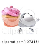 Clipart Of A 3d Silver Cloud Character Jumping And Holding A Pink Frosted Cupcake Royalty Free Illustration