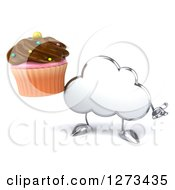 Clipart Of A 3d Silver Cloud Character Shrugging And Holding A Chocolate Frosted Cupcake Royalty Free Illustration