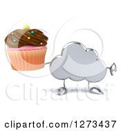 Clipart Of A 3d Silver Cloud Character Holding A Thumb Down And A Chocolate Frosted Cupcake Royalty Free Illustration
