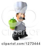 Clipart Of A 3d Short Male Chef With A Mustache Walking To The Right And Holding A Bell Pepper Royalty Free Illustration