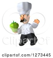 Clipart Of A 3d Short Male Chef With A Mustache Facing Left And Jumping With A Bell Pepper Royalty Free Illustration