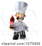 Clipart Of A 3d Short Male Chef With A Mustache Walking With A Soda Bottle Royalty Free Illustration