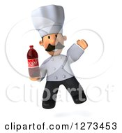 Clipart Of A 3d Short Male Chef With A Mustache Jumping With A Soda Bottle Royalty Free Illustration