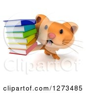 Clipart Of A 3d Ginger Cat Holding Up A Stack Of Books Royalty Free Illustration